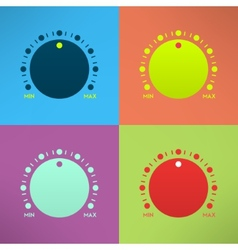 Set of bright volume knobs for player in modern vector