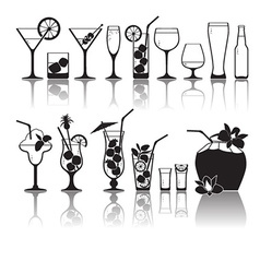 Different kinds of glasses with aperitifs juice vector