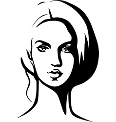 Portrait of beautiful young woman - black outline vector
