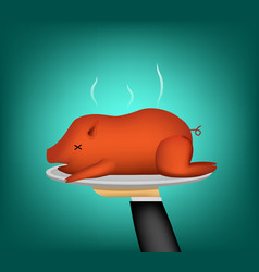 3d barbecued suckling pig on waiter hand vector