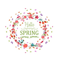 Spring with flower and butterflies the wreath vector