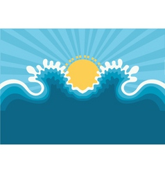 Symbol of wavesblue nature seascape for design vector