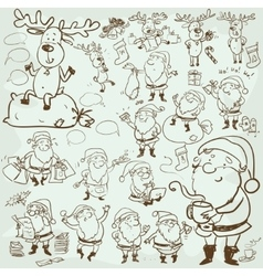 Hand drawn christmas characters and elements vector