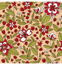 Raspberry fruits and flowers seamless pattern vector