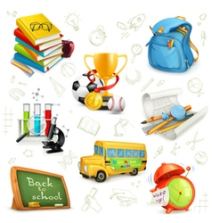Back to school education and knowledge set icons vector image