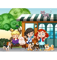 Children playing with cats and dogs vector