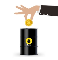 Business Hand Picking Up Gold Coin Into Oil Barrel vector image