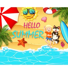 Summer theme with boy and dog on beach vector