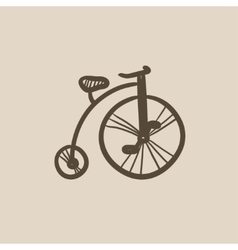 Old bicycle with big wheel sketch icon vector