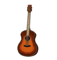 acoustic guitar vintage black engraving vector image vector image