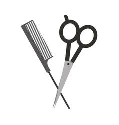 Barbershop scissor with comb vector