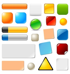 Blank web buttons and stickers vector