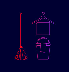 Broom bucket and hanger sign line icon vector