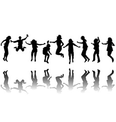 Children silhouettes jumping vector image vector image