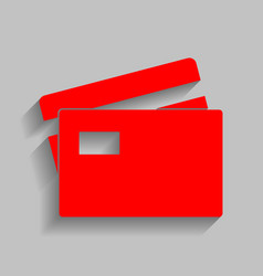 credit card sign red icon with soft vector image