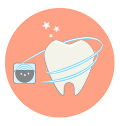 Cute flat tooth and dental floss icon vector