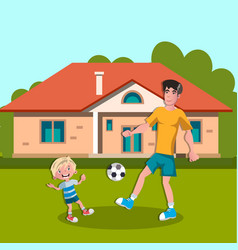 dad and boy playing soccer vector image vector image