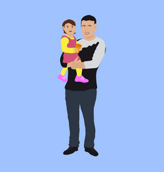Dad with a small child vector