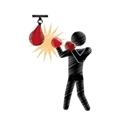 Drawing colored silhouette boxer punching pear vector
