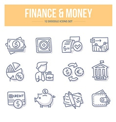 Finance money doodle icons vector