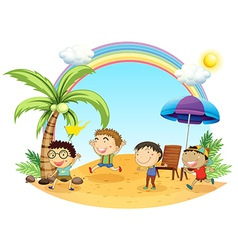 Four boys having an outing at the beach vector image vector image