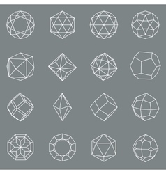 Gem crystal geometric shapes set vector