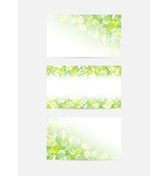 Green leaves greeting cards vector image