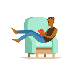guy sitting on a light blue armchair and reading a vector image