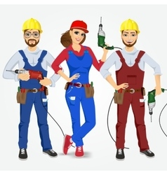 Handymen and handywoman with drills vector