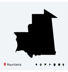 High detailed map of Mauritania with navigation vector image vector image