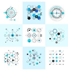 Honeycomb and circular bauhaus abstract geometric vector