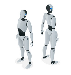 isometric autonomous robot flat isolated vector image