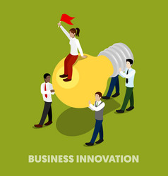 isometric business people innovation concept vector image vector image
