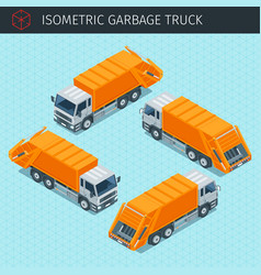 isometric garbage truck vector image vector image