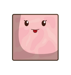 Kawaii ham icon vector