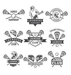 Logos or labels for lacrosse team in sport vector