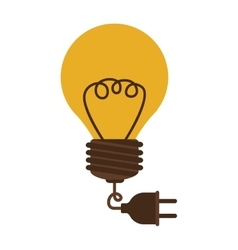 Silhouette electric bulb with cord and plug vector