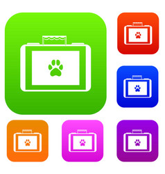 suitcase for animals set collection vector image vector image
