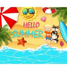 Summer theme with boy and dog on beach vector