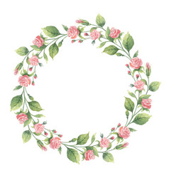watercolor wreath of green branches and vector image vector image