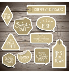 Slogans stickers food wine vector