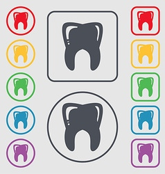 Tooth icon sign symbol on the round and square vector
