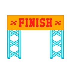 Finish race gate icon cartoon style vector