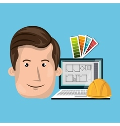 Man architect laptop vector