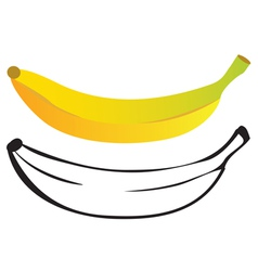 Banana color and outline vector