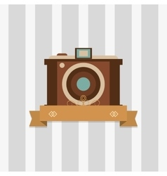 Retro photographic camera emblem image vector