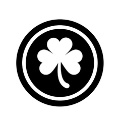 Silhouette saint patrick day coin shamrock icon vector