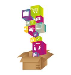 box with color symbols icon vector image