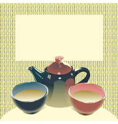Teapot with two teabowls on mats background vector