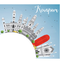 Kanpur skyline with gray buildings blue sky and vector